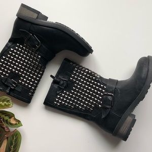 Shoes - Studded Black Rocker/Biker Boots 5.5